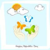 Het ontwerp van de groetkaart voor Indische de Dagviering van de Republiek Stock Afbeelding