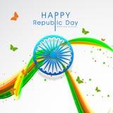 Het ontwerp van de groetkaart voor Indische de Dagviering van de Republiek Royalty-vrije Stock Afbeeldingen
