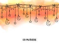 Het ontwerp van de groetkaart voor Islamitische Festivallenviering Royalty-vrije Stock Fotografie