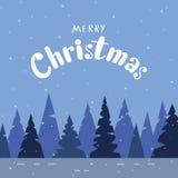 Het ontwerp van de groetkaart voor Kerstmis met modern kalligrafie en w vector illustratie