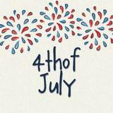 Het ontwerp van de groetkaart voor vierde van Juli-viering Stock Afbeelding