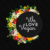Het ontwerp van de het conceptenillustratie van het veganistvoedsel met groenten Royalty-vrije Stock Fotografie