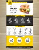 Het ontwerp van de het conceptenwebsite van het snel voedselmenu Stock Afbeeldingen