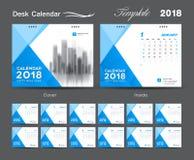 Het ontwerp van de het malplaatjelay-out van de bureaukalender 2018, Blauwe dekking royalty-vrije stock afbeelding