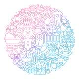 Het Ontwerp van de het Pictogramcirkel van de babylijn stock illustratie