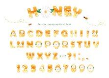 Het ontwerp van de honingsdoopvont De glanzende zoete die letters en de getallen van ABC op wit worden geïsoleerd Stock Afbeeldingen