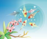 Het ontwerp van de illustratie van koi Royalty-vrije Stock Afbeeldingen