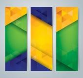 Het ontwerp van de inzamelingsbanner, de achtergrond van de de vlagkleur van Brazilië Stock Foto