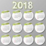 Het ontwerp van de jaarkalender Vector illustratie Royalty-vrije Stock Foto