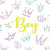 Het ontwerp van de jongenskaart Hand getrokken Kroonpatroon voor weinig prins Royalty-vrije Stock Fotografie