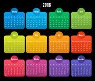 2018 het ontwerp van de Kalenderkleur op zwarte achtergrond Royalty-vrije Stock Foto