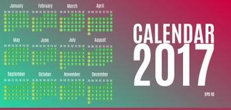 2017 het Ontwerp van de Kalenderontwerper Muur Maandelijkse Kalender voor het jaar Stock Afbeeldingen