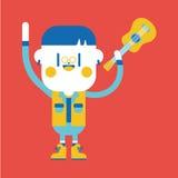 Het ontwerp van de karakterillustratie Jongen het spelen gitaarbeeldverhaal, eps Stock Afbeeldingen