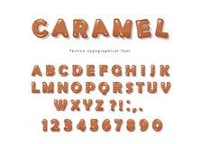 Het ontwerp van de karameldoopvont De zoete glanzende letters en de getallen van ABC Royalty-vrije Stock Fotografie