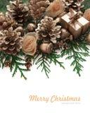 Het ontwerp van de Kerstmisgrens op de witte achtergrond royalty-vrije stock foto's
