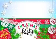 Het ontwerp van de Kerstmispartij voor uw tekst stock afbeelding