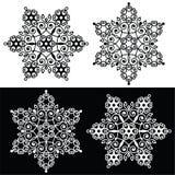 Het ontwerp van de Kerstmissneeuwvlok met - borduurwerk, kantstijl Stock Foto's