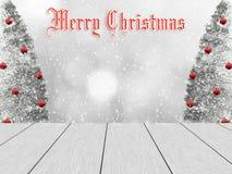 Het ontwerp van de Kerstmiswinter met witte houten planken stock foto's