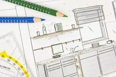 Het ontwerp van de keuken stock afbeeldingen
