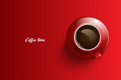 Het ontwerp van de koffietijd over rode achtergrond stock afbeelding