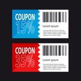 Het Ontwerp van de kortingscoupon - het Winkelen Concept - Vectorillustratie Royalty-vrije Stock Foto's