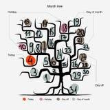 Het ontwerp van de kunstboom, dagen van maandconcept Stock Foto's