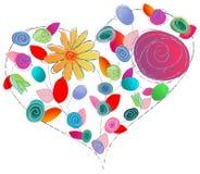 Het ontwerp van de liefde met bloemen royalty-vrije illustratie
