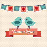 Het ontwerp van de liefdekaart met twee leuke vogels Stock Afbeeldingen