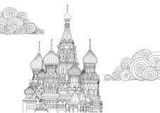 Het ontwerp van de lijnkunst van het Basilicum van Heilige in Moskou, Rusland voor ontwerpelement en kleurende boekpagina Vector  vector illustratie
