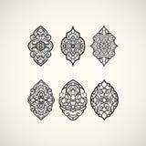 Het ontwerp van de lijnkunst Reeks elliptische patronen Vector illustratie Stock Foto
