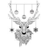 Het ontwerp van de lijnkunst van Kerstmisherten leidt met decoratieve ballen en sneeuwvlokken en bloemen Vector illustratie royalty-vrije illustratie