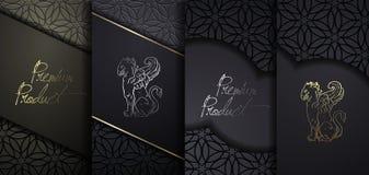 Het ontwerp van de luxepremie Vector vastgestelde verpakkende malplaatjes met verschillende textuur voor luxeproducten Zwarte doc stock illustratie