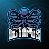 Het ontwerp van het de mascotteembleem van de octopussport stock illustratie