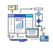 Het Ontwerp van de pictogram Vlak Stijl het Werk Proces Royalty-vrije Stock Afbeeldingen