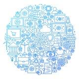 Het Ontwerp van de het Pictogramcirkel van de Cryptocurrencylijn Royalty-vrije Stock Afbeelding