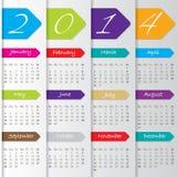 Het ontwerp van de pijlkalender voor 2014 Stock Afbeeldingen