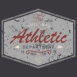 Het ontwerp van de t-shirtdruk, uitstekende geweven stijl grunge, typografiegrafiek, tekst originele atletische afdeling, vectori Stock Foto's