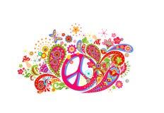 Het ontwerp van de t-shirtmanier met kleurrijke druk met het symbool van de hippievrede, abstracte bloemen, paddestoelen, vlinder stock illustratie