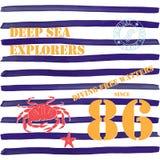 Het ontwerp van de t-shirttypografie, diepzeeontdekkingsreizigers die grafiek, typografische vectorillustratie, Marine, het duike royalty-vrije illustratie