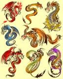 Het ontwerp van de tatoegeringskunst van Woedende Draakinzameling Royalty-vrije Stock Afbeeldingen