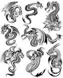 Het ontwerp van de tatoegeringskunst van Woedende Draakinzameling Stock Foto's