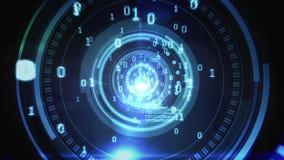 Het ontwerp van de technologiecode in menselijk oog stock video