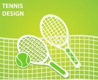 Het ontwerp van de tennissport met rackets en bal, vectorillustratie e royalty-vrije illustratie