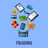 Het ontwerp van de Tradingflataffiche voor online het winkelen Stock Foto's