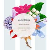 Het ontwerp van de de Uitnodigingskaart van de huwelijksgebeurtenis met Tropische bloemen, nodigt dankt u, rsvp het moderne Ontwe vector illustratie