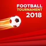 Het ontwerp van de voetbal 2018 affiche De kleuren van Rusland royalty-vrije illustratie