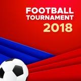 Het ontwerp van de voetbal 2018 affiche met voetbalbal vector illustratie
