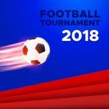 Het ontwerp van de voetbal 2018 affiche Russische kleuren royalty-vrije illustratie