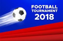 Het ontwerp van de voetbal 2018 affiche Russische kleuren vector illustratie