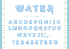 Het ontwerp van de waterdoopvont De transparante glanzende letters en de getallen van ABC Stock Fotografie